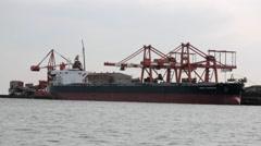 Marine traffic in Tokyo Bay, Tokyo, Japan - stock footage