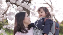 Japanese young mother and daughter enjoying cherry blossoms in a city park Stock Footage