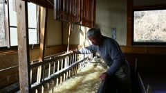 Japanese traditional paper craftsman working in his studio Stock Footage