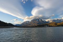 Cuernos del Paine and Lago Grey in evening light Torres del Paine National Park Stock Photos
