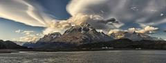 Cuernos del Paine and Lago Grey in evening light Torres del Paine National Park - stock photo