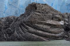 Rock formation Grey Glacier Torres del Paine National Park Chilean Patagonia - stock photo