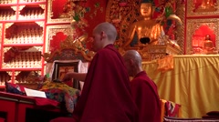 N. 3 Samyeling Monastery. pujas recited by Tibetan monks from back. Audio. Stock Footage