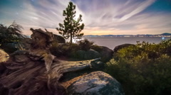 Time-lapse dolly shot of Lake Tahoe from Sand Harbor, Nevada. Desert sunset with Arkistovideo