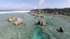 Aerial Footage Pristine Tropical Reef In Pacific Stock Footage