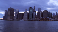 Panning shot of New York cityscape with overcast sky. Stock Footage