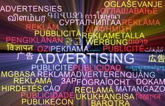 Advertising multilanguage wordcloud background concept glowing - stock illustration