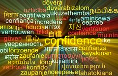 Confidence multilanguage wordcloud background concept glowing Stock Illustration