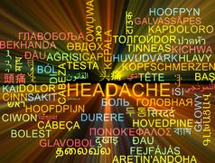 Headache multilanguage wordcloud background concept glowing Stock Illustration