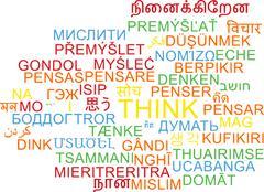 Think multilanguage wordcloud background concept Stock Illustration