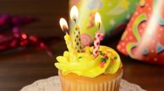Birthday cupcake Stock Footage