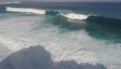 Aerial Footage Large Hurricane Swells Crashing Into Island Stock Footage