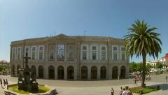 Porto Tour Bus View passing University Square Stock Footage