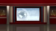 News TV Studio Set - Virtual Green Screen Background Loop - stock footage