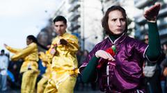Kung Fu - chinese new year parade - stock photo