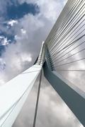 Erasmus Bridge facing sky - stock photo