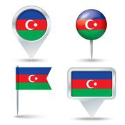 Map pins with flag of Azerbaijan Stock Illustration
