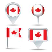 Map pins with flag of Canada - stock illustration