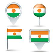 Map pins with flag of Niger - stock illustration