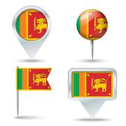 Map pins with flag of Sri Lanka Stock Illustration