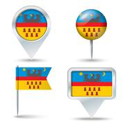 Map pins with flag of Transylvania - stock illustration