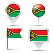 Map pins with flag of Vanuatu Stock Illustration