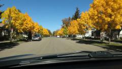 Autumn drive through suburbs of Brandon, Manitoba. Stock Footage