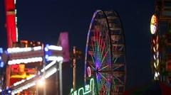 Fairgrounds at Night Stock Footage