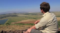 A man visits Har Bental an old Israeli Military Bunker Stock Footage