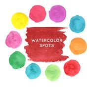 Watercolor hand painted spots set - stock illustration