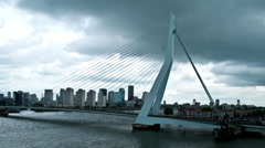 Time-lapse shot of Erasmus��bridge in Rotterdam, Holland . Stock Footage