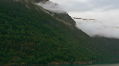 Sped-up video of the Norwegian fjords filmed from a boat Stock Footage