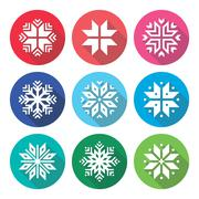 Stock Illustration of Christmas, winter snowflakes flat design icons set