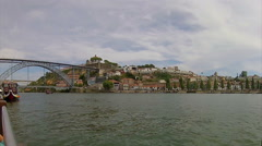 Porto View From Tour Boat in River Douro to Gaia and Luiz I Bridge Stock Footage