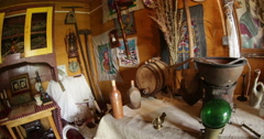 Ukrainian authenticity and culture. Home village. Interior. Fisheye lens. Stock Footage