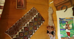 Ukrainian authenticity. Home village. Embroidery on walls. Stock Footage
