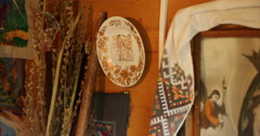 Ukrainian authenticity. Home village. Embroidery on wall. Old lamp. - stock footage
