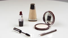 Selection of make-up items. Stock Footage