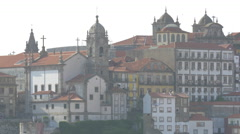 Cityscape of Porto with church and buildings Stock Footage