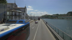 Driving on Cais das Pedras Viaduct in Porto - stock footage