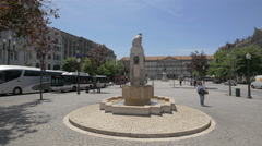 Statue of a woman sitting over a fountain in front of the city hall of Porto Stock Footage