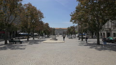 Walking in Liberty Square in Porto Stock Footage