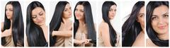 collage of cute beautiful woman with strong healthy bright hair - stock photo
