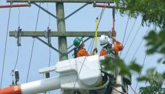 Hydro Linemen Connecting New Wires On Telephone Pole-Close Up Stock Footage