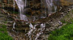 People climbing at the base of Bridal Veil Falls in Provo, Utah. Stock Footage