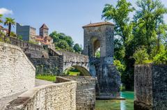 Pont de la Legende, or Bridge of Legend in Sauveterre-de-Bearn - stock photo