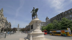 The statue of King Dom Pedro IV in Porto Stock Footage