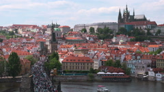 Prague Castle and Saint Vitus Cathedral Stock Footage