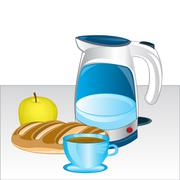 Teapot and products on table Stock Illustration