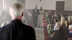 Father and bride at front of chapel without a groom. - stock footage